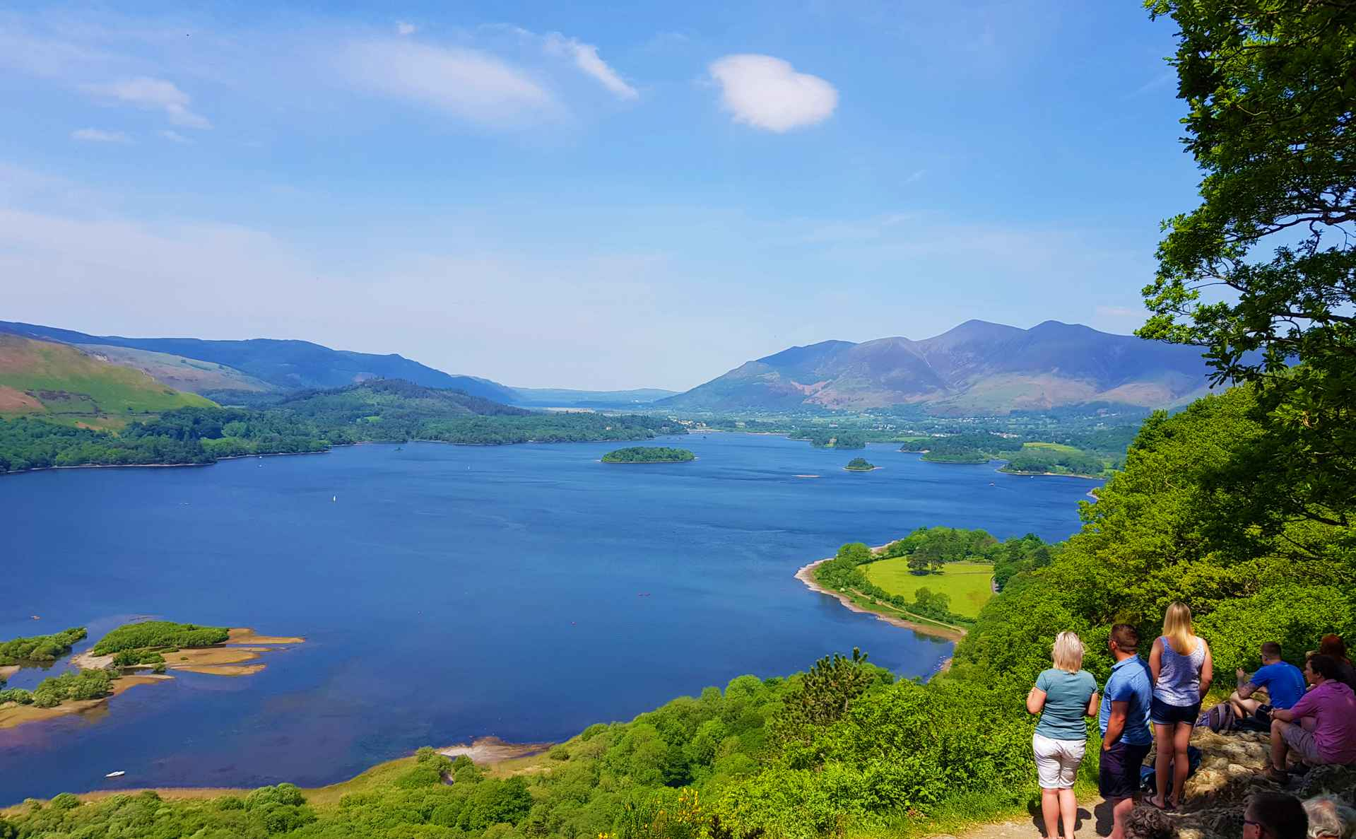 People on Lake District tours overlooking Derwentwater